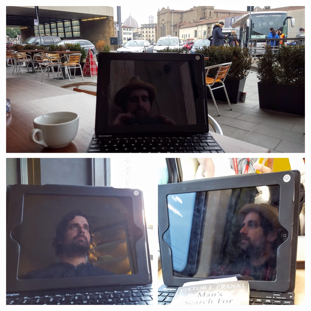 This is me in various poses and places as I make time to write.  It is usually on buses, trains, and planes or various station cafes along the way.
